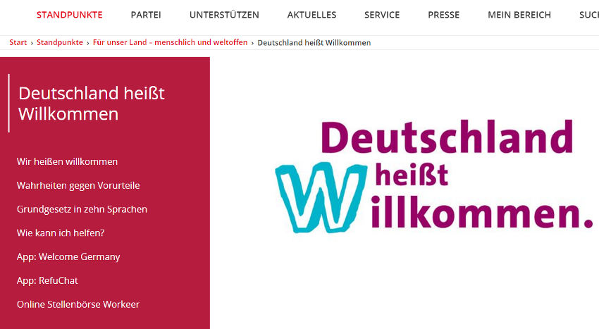 Screenshot: Webauftritt der SPD (18. November 2016)