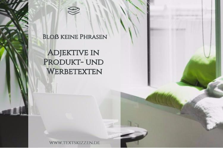 Adjektive in Werbetexten; Motiv Büro mit Schreibtisch, Macbook, Kissen und Zimmerpalme