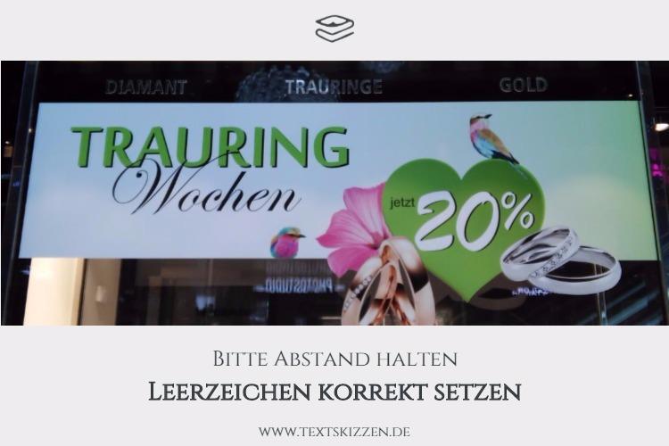 """Leerzeichen korrekt setzen: Motiv Schaufenster mit Preisangabe """"Jetzt 20 Prozent Rabatt"""""""