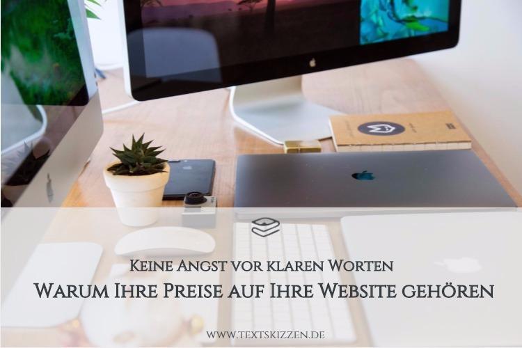 Preisangaben auf der Firmenwebsite: Motiv Schreibtisch mit Computer, Tastatur, Macbook und Kaktus