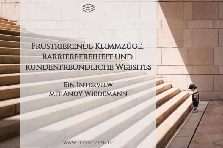 Barrierefreie Websites: Interview mit Andy Wiedemann; Motiv: Überforderter Junge vor steiler Treppe