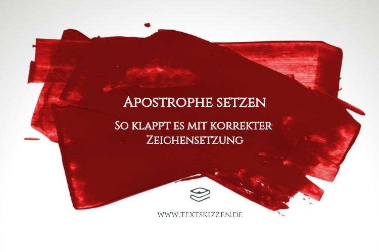 Korrekte Apostrophe setzen: Blogtitel über roten Pinselstrichen auf weißem Grund