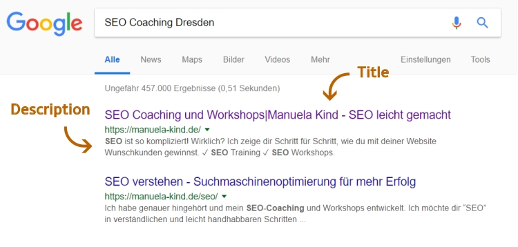 Screenshot: Title- und Description-Tag am Beispiel SEO Coaching und Workshops, Manuela Kind, Dresden