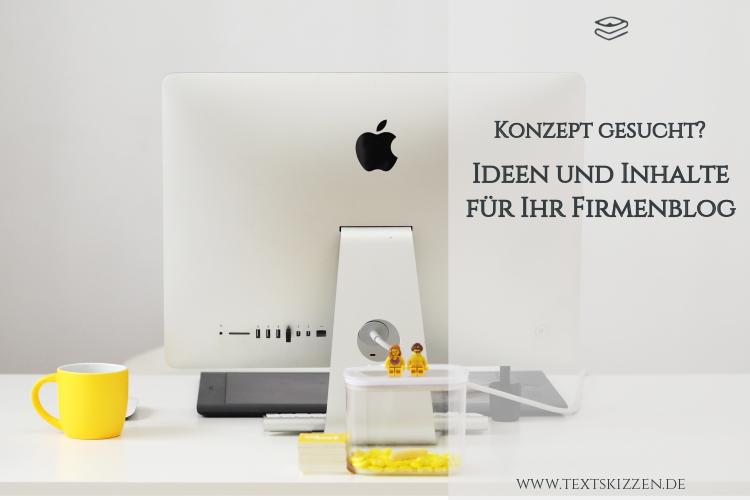 Ideen und Inhalte für ein Firmenblog: Motiv Schreibtisch, Apple-PC und gelbe Tasse