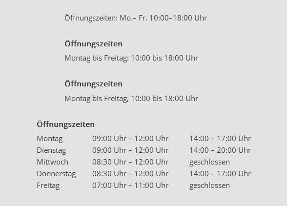 Uhrzeiten schreiben: Beispiele für Öffnungszeiten