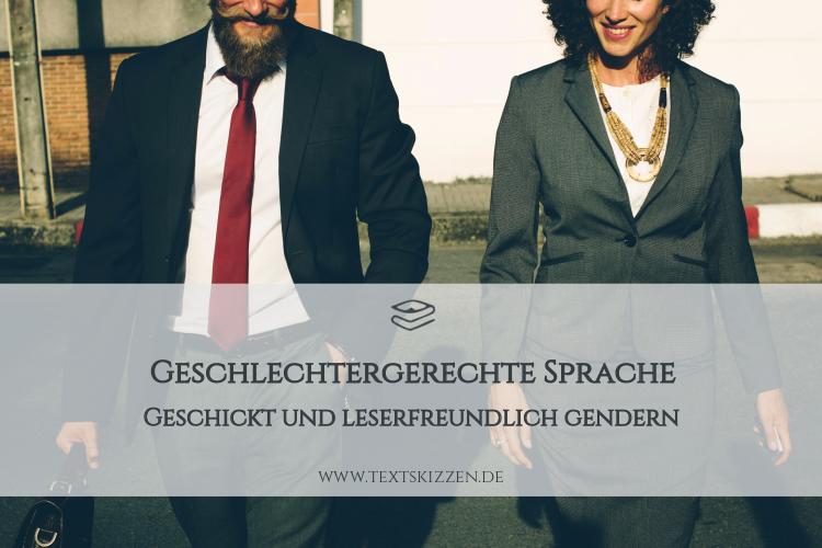 Geschlechtergerechte Sprache: Geschickt gendern. Geschäftsmann und Geschäftsfrau im Businessoutfit auf Straße