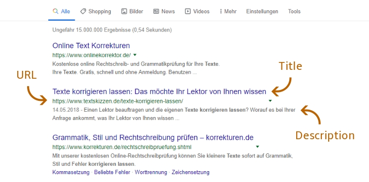 Screenshot: Google-Ergebnisliste mit Title-Tag und Description-Tag