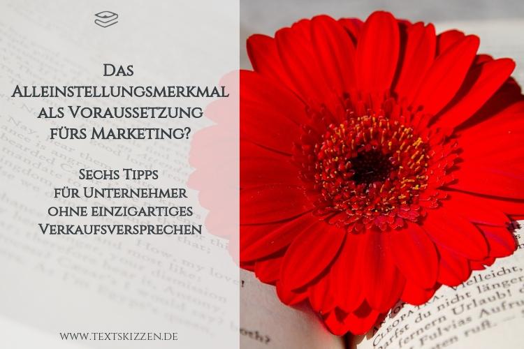 Das Alleinstellungsmerkmal als Muss fürs Marketing: aufgeschlagenes Buch mit roter Blüte