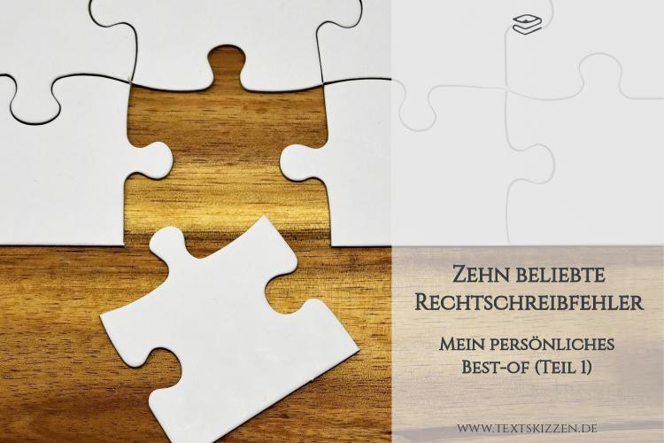 Beliebte Rechtschreibfehler: weißes Puzzle auf Holztisch
