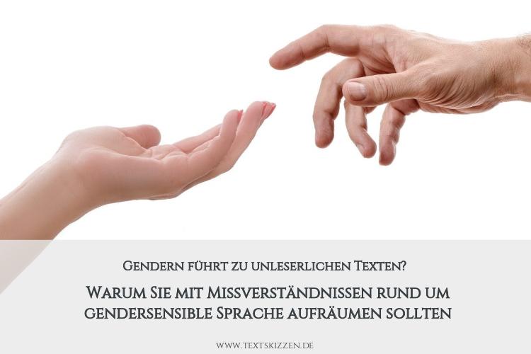 Gendern und gendersensible Sprache: Frauen- und Männerhand