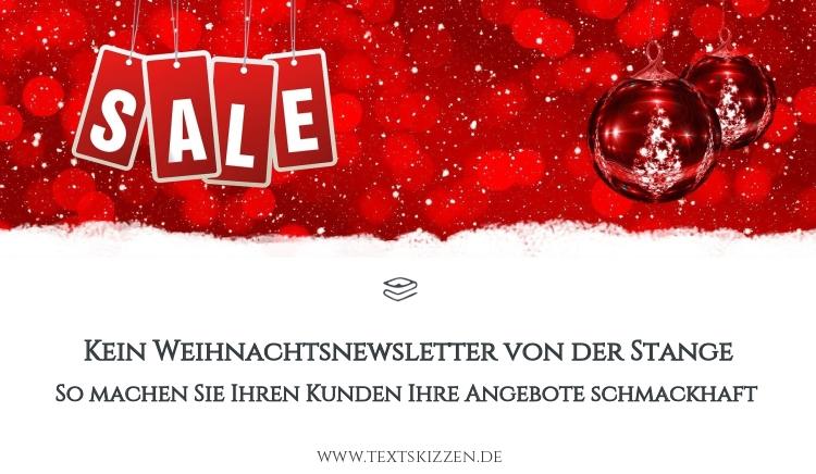 """Weihnachtsnewsletter-Tipps: rotes Weihnachtsmotiv mit Christbaumkugeln und der Aufschrift """"Sale"""""""