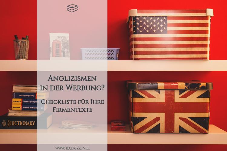 Anglizismen in der Werbung: Regale mit Büchern und Aufbewahrungsboxen mit britischer und US-Flagge