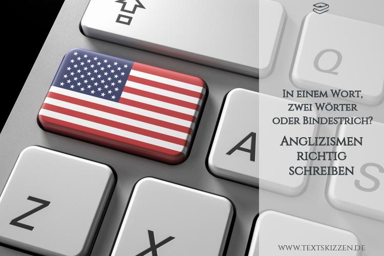Anglizismen richtig schreiben: Computertastatur mit amerikanischer Flagge anstelle der Shift-Taste