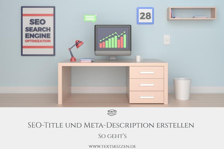 Meta Description erstellen: Schreibtisch mit Computer, dahinter ein Bild mit der Beschriftung SEO