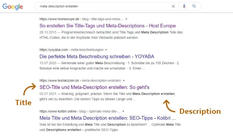 Meta-Description erstellen: Screenshot der Google Ergebnisliste mit Title und Description